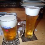 季節の旨いものと酒 さわ - ビールで乾杯