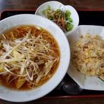 上海麺餃王 - 葱チャーシュー麺  ミニ炒飯  餃子のセット