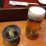 ほまれ寿し - 料理写真:生ビールとお通し