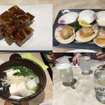 81873247 - 煮凝り、ハマグリ焼き、湯豆腐、酒