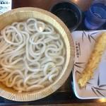 丸亀製麺 - 釜揚げうどん(大・半額)190円+イカ天110円=300円(税込)