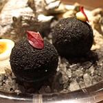 sincere - サザエとサザエの肝のベシャメルソースの黒いコロッケ
