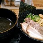 81906672 - 【(限定)世界一こく旨黒つけ麺 + 特製 味玉】¥950 + ¥100
