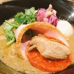 潮 くろ喜 - 味玉牡蠣味噌スパイスそば 1400円
