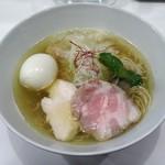 麺画廊 英 - 地鶏 塩拉麺+寿雀卵の味付玉子
