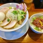 千茶屋 - 塩チャーシューめん(大盛)+塩辛ごはん【料理】