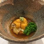 鮨西光 - 根室の馬糞雲丹、湯葉とブロッコリー