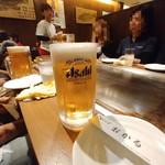 おかる - 生ビールで乾杯♪