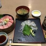 三海荘 - 生〆ヒラメの昆布じめとマグロ丼特上