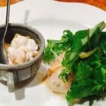 ステーキ 伊達 - 料理写真:白子ソテーとカルパッチョサラダ的な! ドレッシングの味好き過ぎたー♡