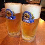 黒豚料理 寿庵 - ビールで祝杯