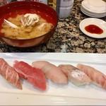スーパー回転寿司やまと - やまと5貫     大トロ・中トロ・ヒラメ・カンパチ・スズキ