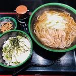 桃山 - 肉そば・温(600円)+日替り丼(300円)