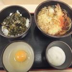 ゆで太郎 - 料理写真:朝そば(高菜ごはん)360円&海老天150円をクーポンで無料に、とろろ120円(2018.1.30)