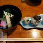 八幡屋 - 前菜とお椀