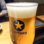 天ぷらスタンド KITSUNE - サッポロ黒ラベル・生ビール