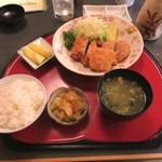 一休庵 - ミックスフライ定食 750円