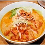 四条富小路 麺屋虎杖 - パーコーカレー担々麺 1000円 カレーと坦々、どちらの風味も生きています。