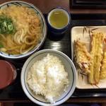 丸亀製麺 - かけうどん+ご飯+天麩羅+丼汁