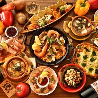 ワインに合う鉄板料理と小皿料理