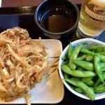 丸亀製麺 - 野菜かき揚げ&枝豆&天つゆ&生ビール