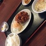 中華料理 旺華楼 - 日替りの鶏のチリソース定食(^∇^)