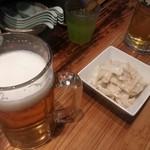 82100951 - まずは生ビールとメンマを。