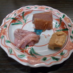 サケショップ フクミツヤ - 今月の酒肴3種盛り