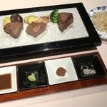サミット - 飛騨牛ステーキ3種食べ比べ。左からヒレ、サーロイン、モモ