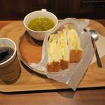 カフェ サルバドル ビジネス サロン - モーニングセット:玉子サンド ミネストローネ コーヒー1