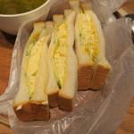 カフェ サルバドル ビジネス サロン - モーニングセット:玉子サンド ミネストローネ コーヒー3