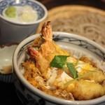 宮の蕎麦 兎屋 - 料理写真:丼とそハーフそばのセット(天とじ丼)