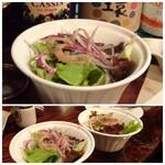 ロベール・エ・ルイーズ - お肉には「サラダ」「パン」「ポテトフライ」が付きます。 ◆サラダ・・ドレッシングの味わいがいいですね