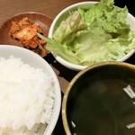 かるび家 - ごはん&キムチ&ミニサラダ&スープ