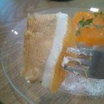 fruits cafe' trio - デコポンのチーズキャラメルタルト断面