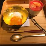 おにく 花柳 - 和三盆ぷりん、柚子シャーベット、金柑コンポート