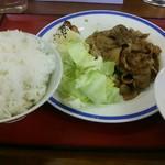 82184700 - 豚バラ黒胡椒炒め定食¥880 ライス大盛り
