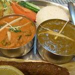 コピラ - 野菜のカレー と サークチキンカレー(ほうれん草のチキンカレー)