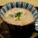 82191305 - 先付 くもこの茶碗蒸し 香住の蟹のあんかけ わさびを添えて