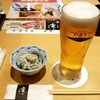 Rinya - 料理写真:生ビール、日替わり先付