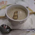 百年ダイニング - 雲仙きのこのクリームスープ グリッシーニ添え