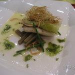 百年ダイニング - 鯛のポアレねぎのフリッツ 島原ろくべえ添え 有明海産「あおさ」磯の香りソース