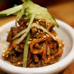 博多筑紫口 肉寿司 - 肉チャンジャ。