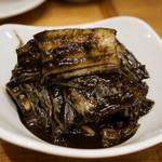 博多筑紫口 肉寿司 - 黒いキムチ。