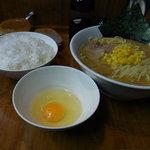 横浜げんき亭 - Aセット(らーめん+生玉子、ごはん)800円+麺大盛(100円)