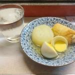 屋台 呑龍 - 芋焼酎お湯割りとおでん(大根、玉子、ギョーザ天)