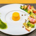82256157 - 雪下人参のババロア 春の野菜と共に