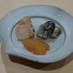 鮨 はしもと - 鮟肝、牡蠣味噌漬け、数の子