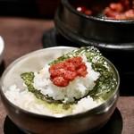 Wine:Korean sampa - 肉味噌と韓国海苔とご飯