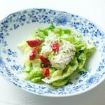 幸せ中国料理 ローズ上海 - 春キャベツとヤリイカの青海苔炒め